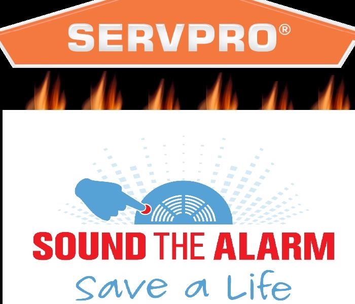 "SERVPRO logo and text: ""Sound the alarm, save a life."""